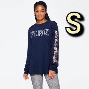 VS PINK Bling Campus Tee Navy S